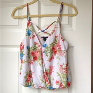 Forever 21 Criss-Cross Floral Tank